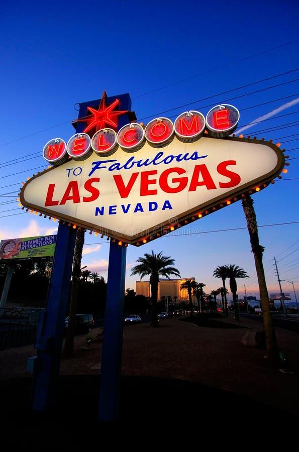 Onthaal aan het Fabelachtige teken van Las Vegas bij nacht, Nevada stock foto's