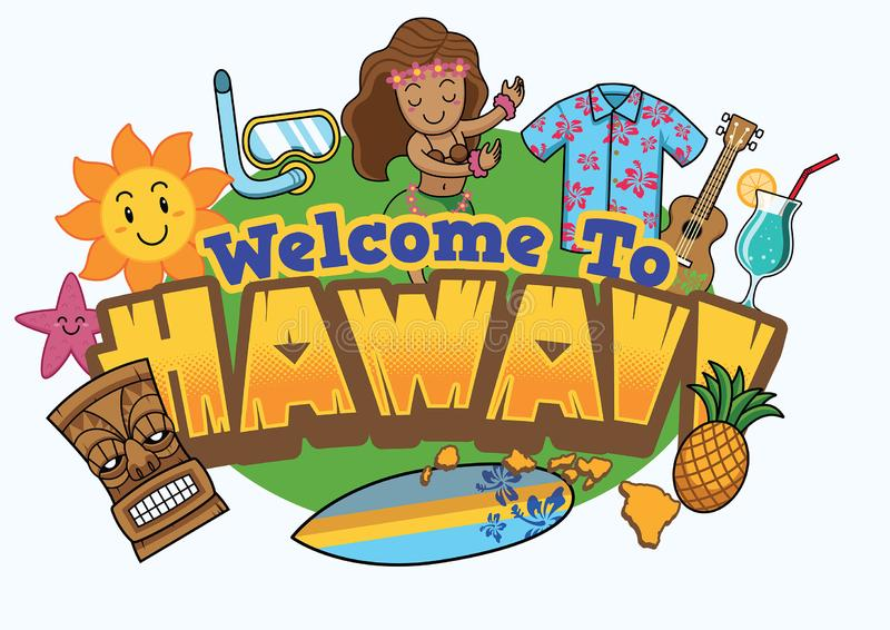 Onthaal aan het ontwerp van Hawaï royalty-vrije illustratie