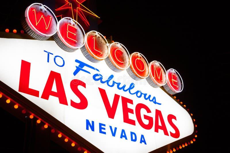 Onthaal aan het teken van Las Vegas bij nacht royalty-vrije stock fotografie