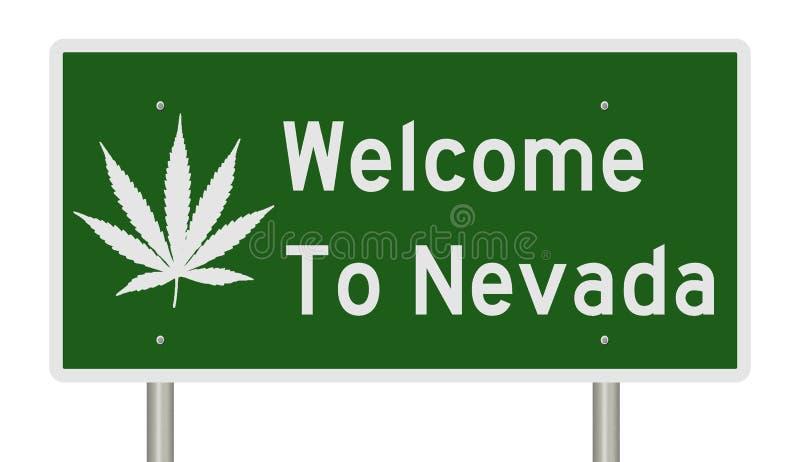 Onthaal aan het teken van Nevada met marihuanablad royalty-vrije illustratie
