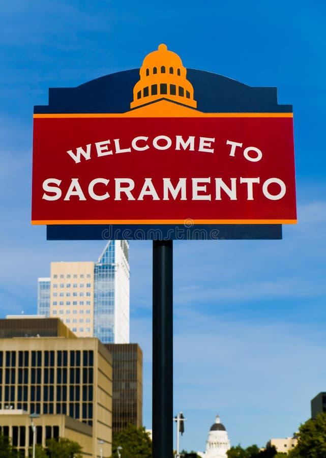 Onthaal aan het teken van Sacramento stock fotografie