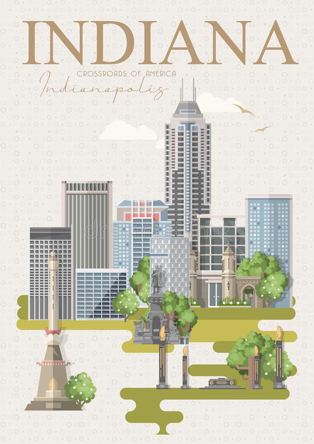 Onthaal aan Indiana De Verenigde Staten van Amerika Kruispunten van Amerika Prentbriefkaar van Indianapolis Reisvector royalty-vrije illustratie