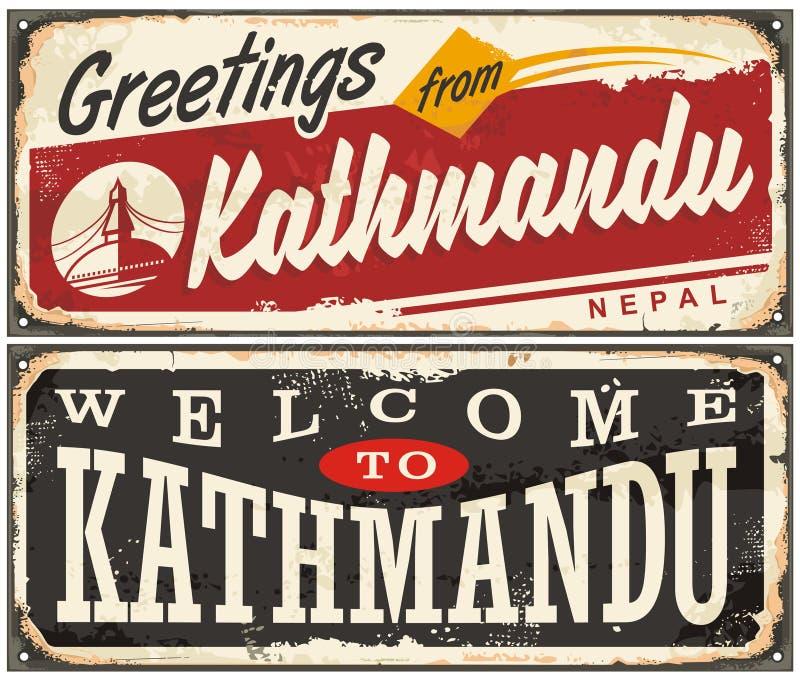 Onthaal aan Katmandu, retro geplaatste tintekens royalty-vrije illustratie