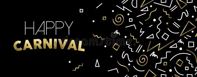 Onthaal aan ontwerp van de de partijbanner van Carnaval het gouden stock illustratie