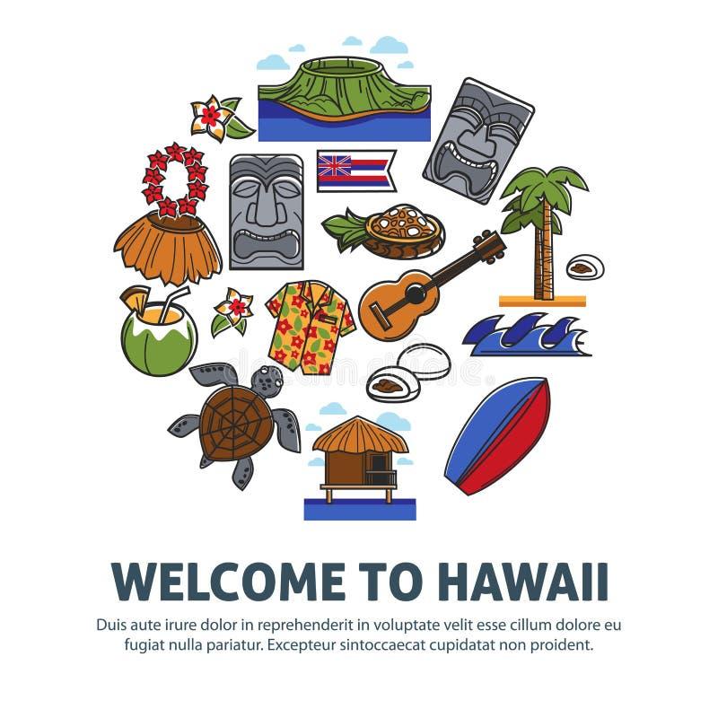 Onthaal aan promoaffiche van Hawaï met nationale symbolen royalty-vrije illustratie