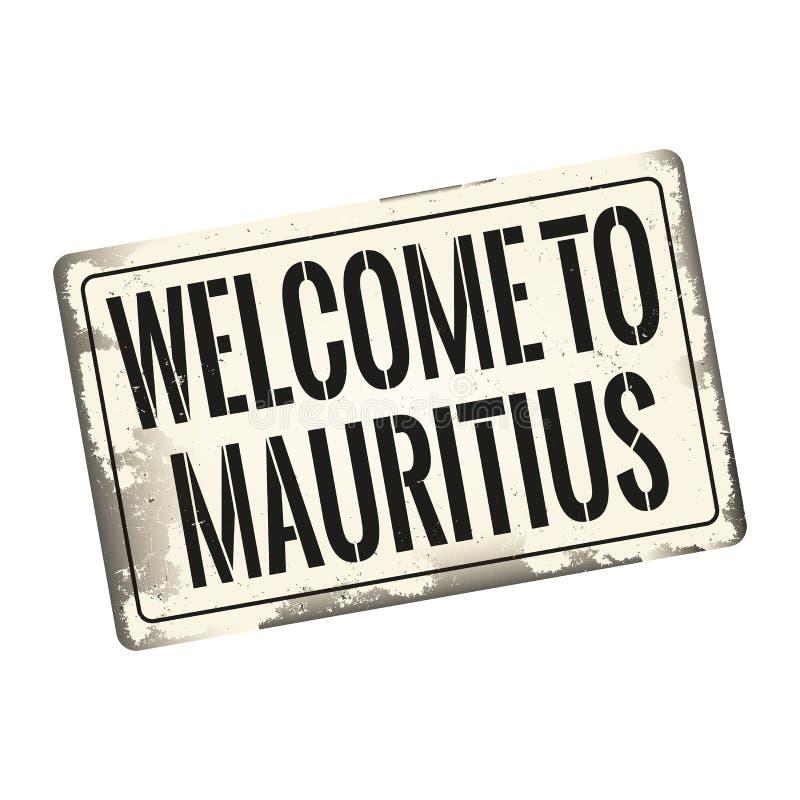 Onthaal aan roestige oude retro het tekenplaque van Mauritius royalty-vrije illustratie
