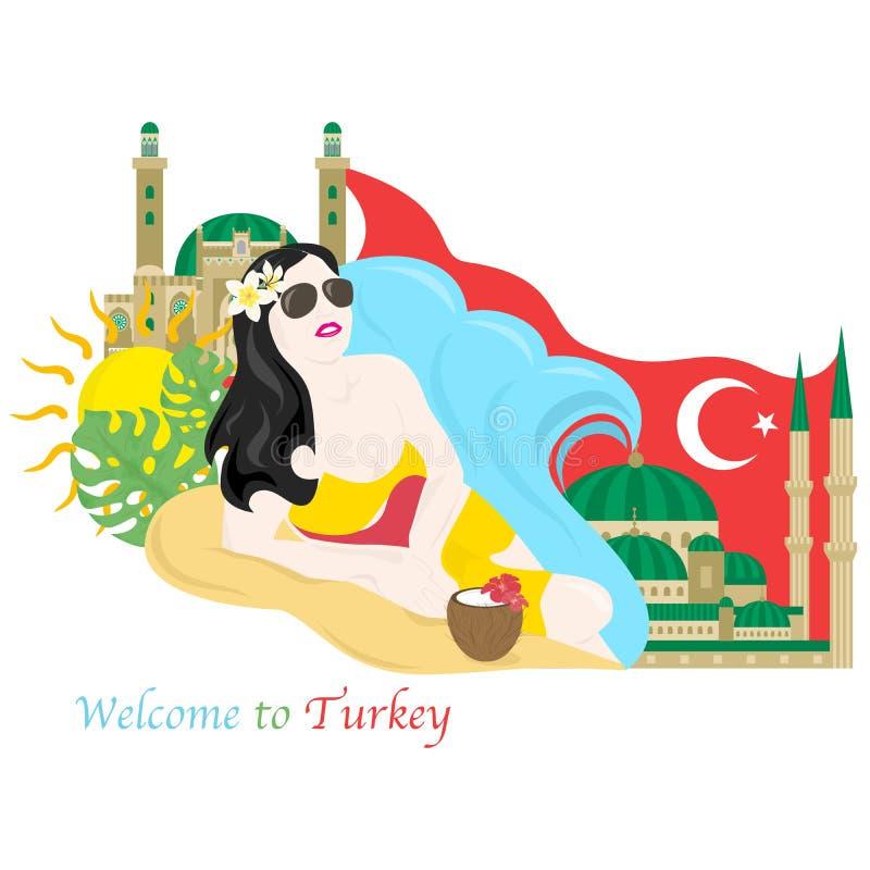 Onthaal aan Turkije vector illustratie