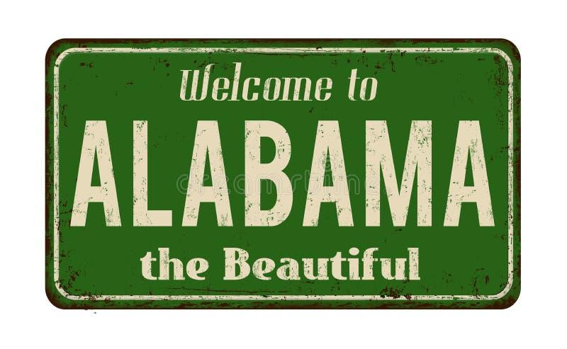 Onthaal aan uitstekend roestig het metaalteken van Alabama vector illustratie