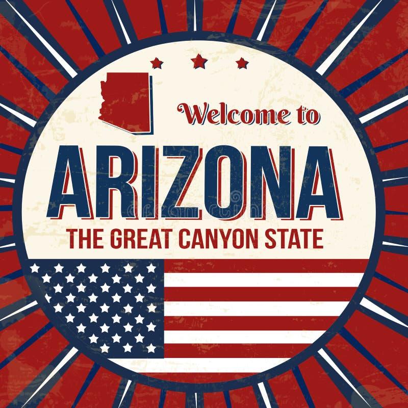 Onthaal aan uitstekende grungeaffiche van Arizona vector illustratie