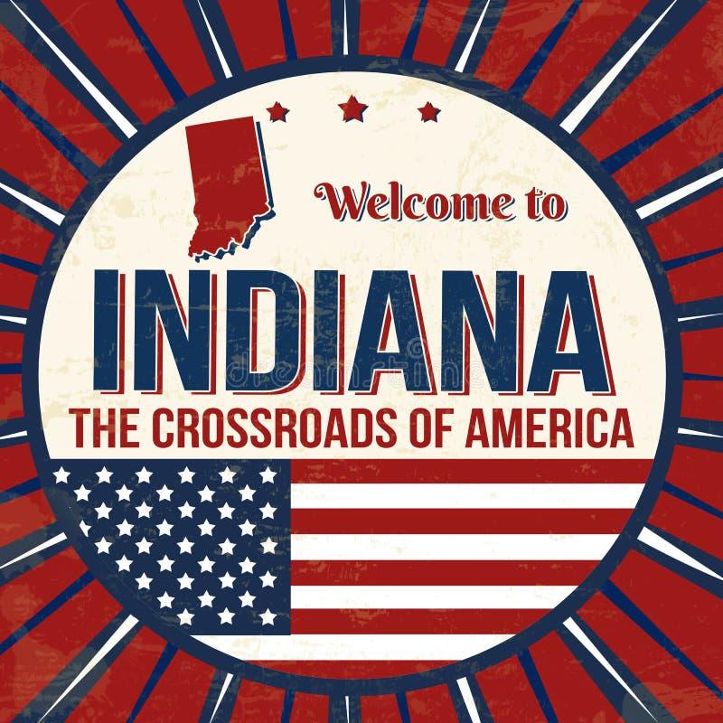 Onthaal aan uitstekende grungeaffiche van Indiana vector illustratie