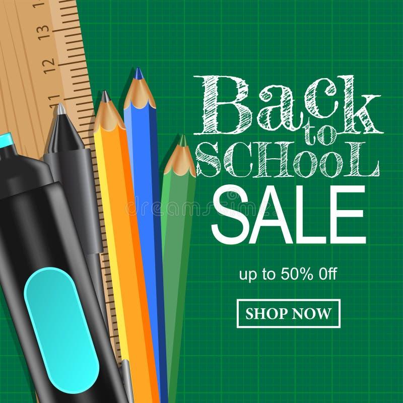 Onthaal terug naar de aanbiedingsbanner van de schoolverkoop Stationair, potlood, pen, heerser stock afbeeldingen