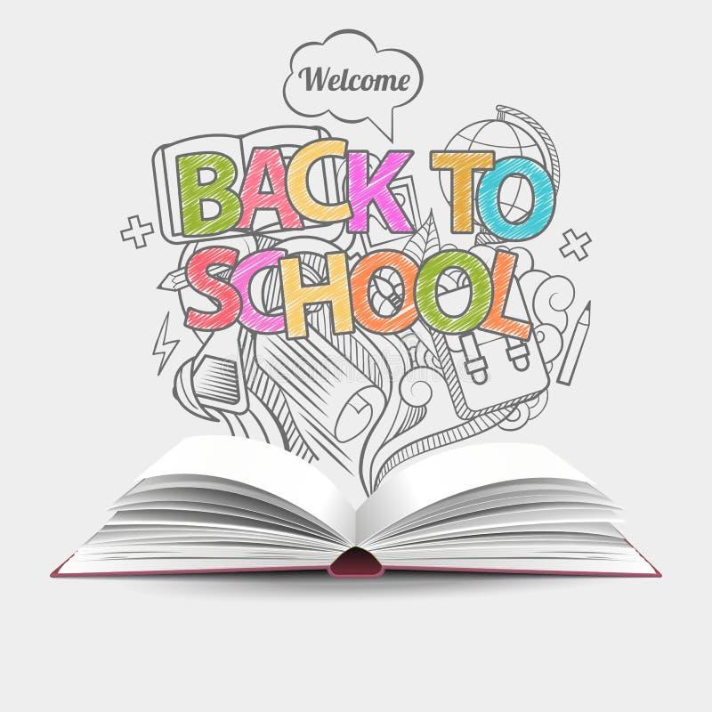 Onthaal terug naar grijze, zwart-wit de krabbelspictogrammen van het schoolidee en open boek Vector illustratie Kan voor werksche royalty-vrije stock afbeeldingen