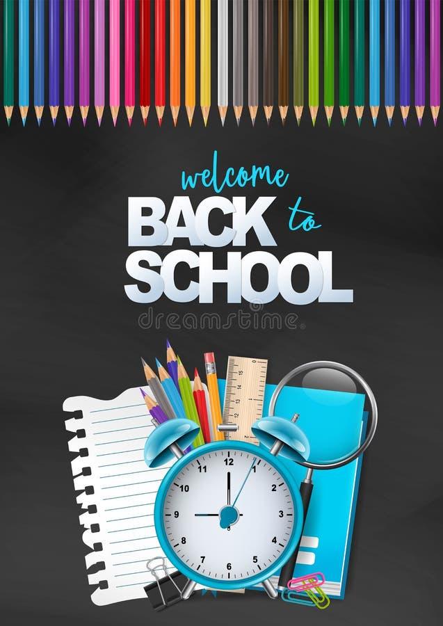 Onthaal terug naar school kleurrijke affiche Onderwijsvlieger voor reclame, tijdschrift, boekdekking, website Een stapel van kant stock illustratie