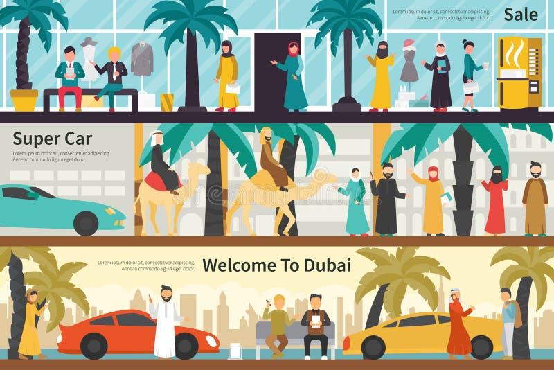Onthaal van de verkoop het Super Auto aan Web van het het bureau binnenlandse openluchtconcept van Doubai het vlakke vector illustratie