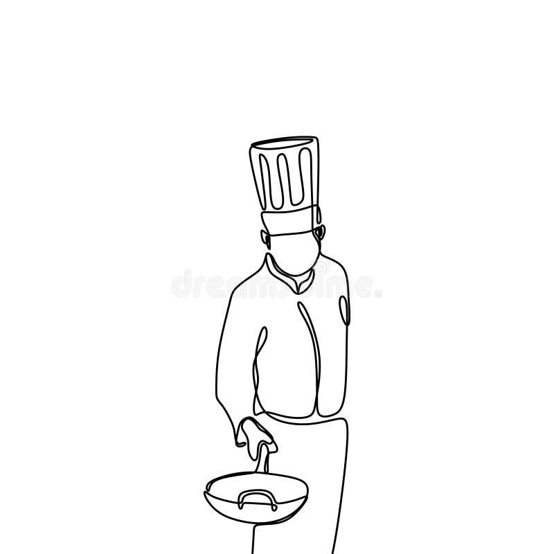 ontinuous kreskowy rysunek ufna szef kuchni pozycja ilustracji