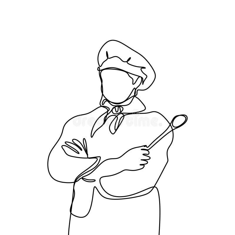 ontinuous kreskowy rysunek ufna szef kuchni pozycja ilustracja wektor