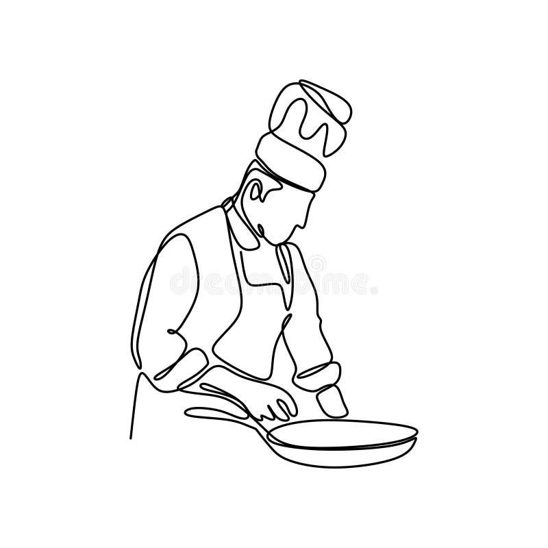 ontinuous kreskowy rysunek ufna szef kuchni pozycja royalty ilustracja