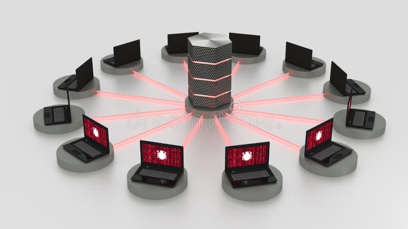 Ontkenning van de dienstaanval op gecentraliseerde server royalty-vrije illustratie