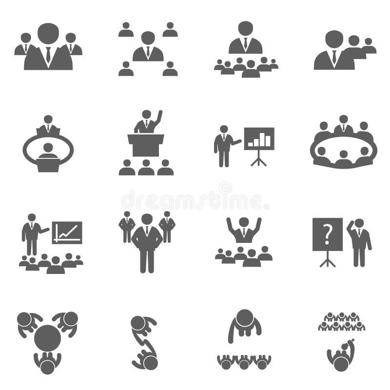 Ontmoet pictogrammen royalty-vrije stock afbeeldingen