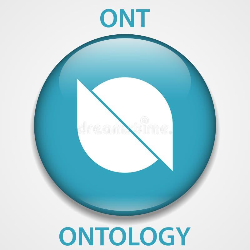 Ontologie-Münze cryptocurrency blockchain Ikone Virtuelles elektronisches, Internet-Geld oder cryptocoin Symbol, Logo lizenzfreie abbildung