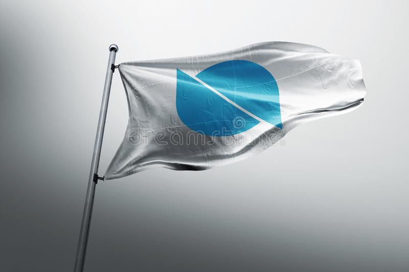 Ontology ONT photorealistic flag. Ontology is a new high-performance public blockchain project & a distributed trust mechanism. blockchain crypto cryptocurrency stock image