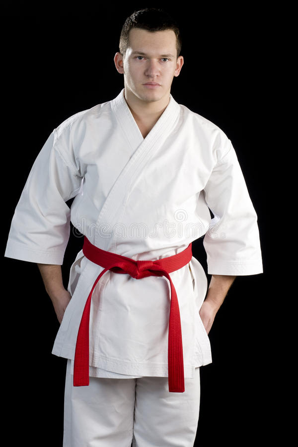 Download Ontrast Karate Young Fighter On Black Stock Image - Image: 23454655