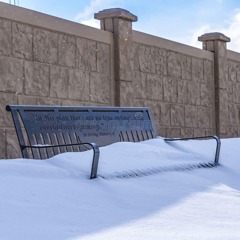 Ontruim Vierkante die Metaalbank met de zetel in poederachtige witte sneeuw op een zonnige de winterdag wordt behandeld stock afbeelding