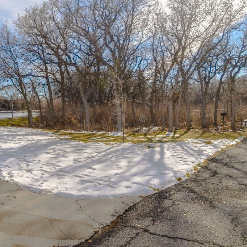 Ontruim Vierkante Lijst en banken bij een sneeuwpicknickgebied dichtbij een meer op een zonnige de winterdag stock foto's