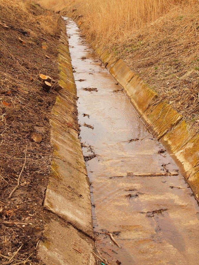 Ontruimd drainagekanaal tussen weiden in de lente stock afbeeldingen