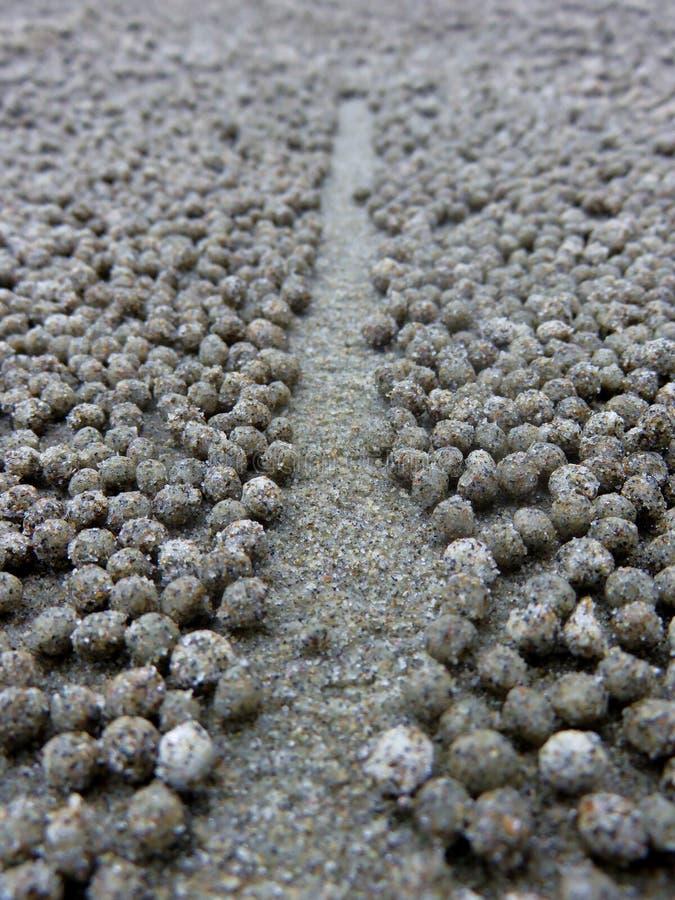 Ontruimde weg tussen de krabballen van de zandwasfles stock afbeelding