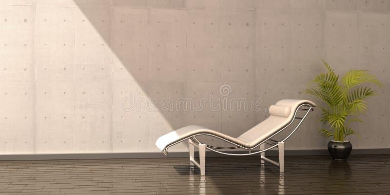 Ontspan de bloem binnenlandse scène van het stoel witte leer stock illustratie