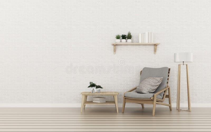 Ontspan ruimte in flat bakstenen muur en houten vloer in woonkamer tropisch binnenlands ontwerp stock illustratie