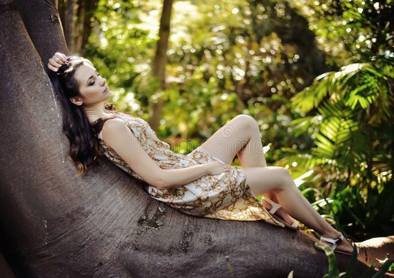 Ontspannen dame die op de reuze tropische boom leggen royalty-vrije stock afbeelding