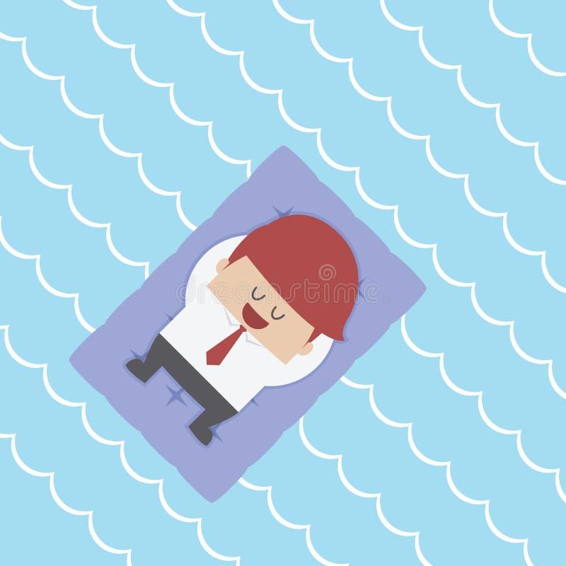 Ontspannen Zakenman Floating op Poolvlot stock illustratie