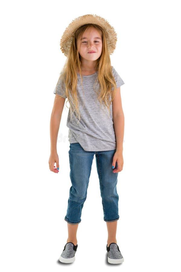 Ontspannen zekere mooi weinig 6 éénjarigenmeisje royalty-vrije stock foto