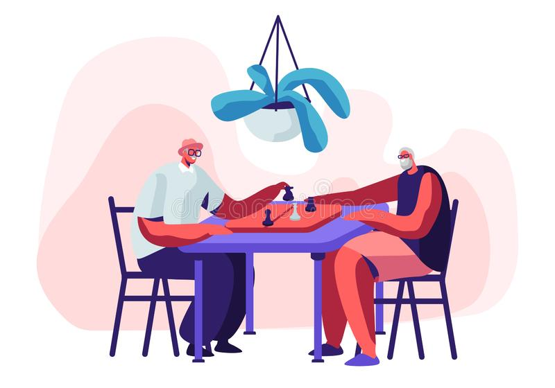 Ontspannende Hogere Mensen die Schaak in Verpleeghuis spelen Paar van Vrolijke Gepensioneerden die Tijd doorbrengen samen bij Int stock illustratie