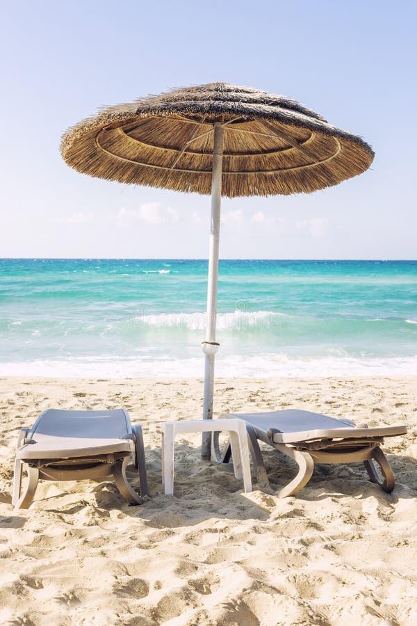Ontspannende scène op een winderige dag bij het tropische strand stock afbeelding