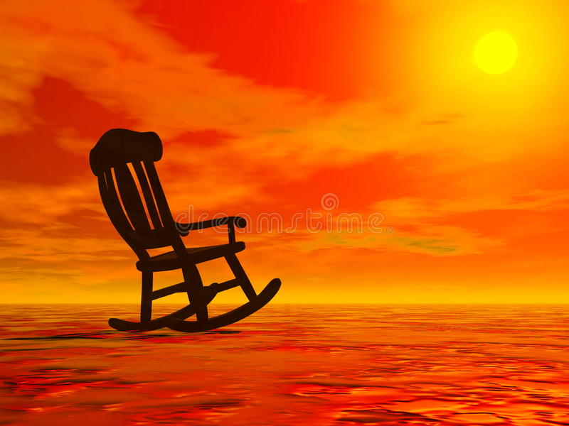 Ontspanning door 3D zonsondergang - geef terug stock illustratie