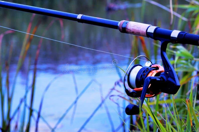 Ontspanning, recreatie en sport in de visserij Spinsport voor het vangen van vis op een waterachtergrond, handig royalty-vrije stock foto's