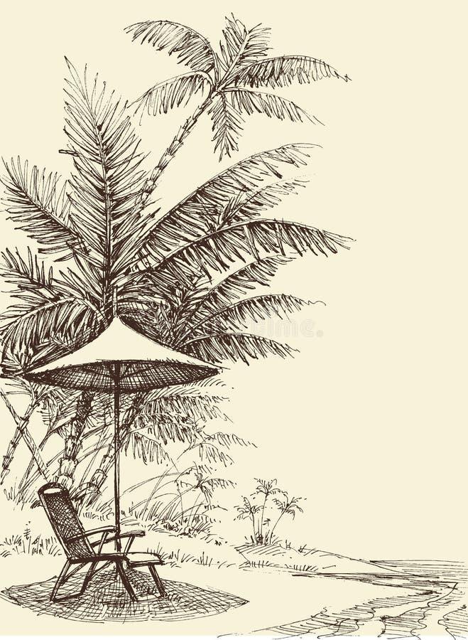 Ontspanningsconcept in een tropisch milieu stock illustratie