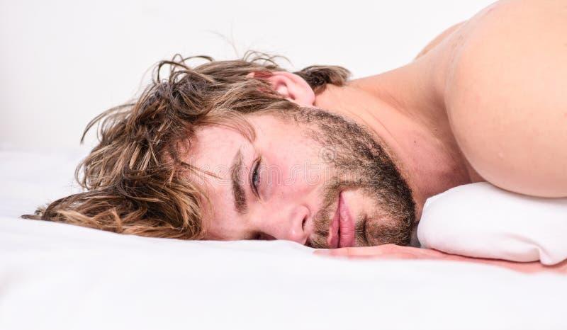 Ontspant de kerel gebaarde macho in ochtend Ontspant de mensen aantrekkelijke macho en voelt comfortabel Eenvoudige uiteinden om  royalty-vrije stock fotografie