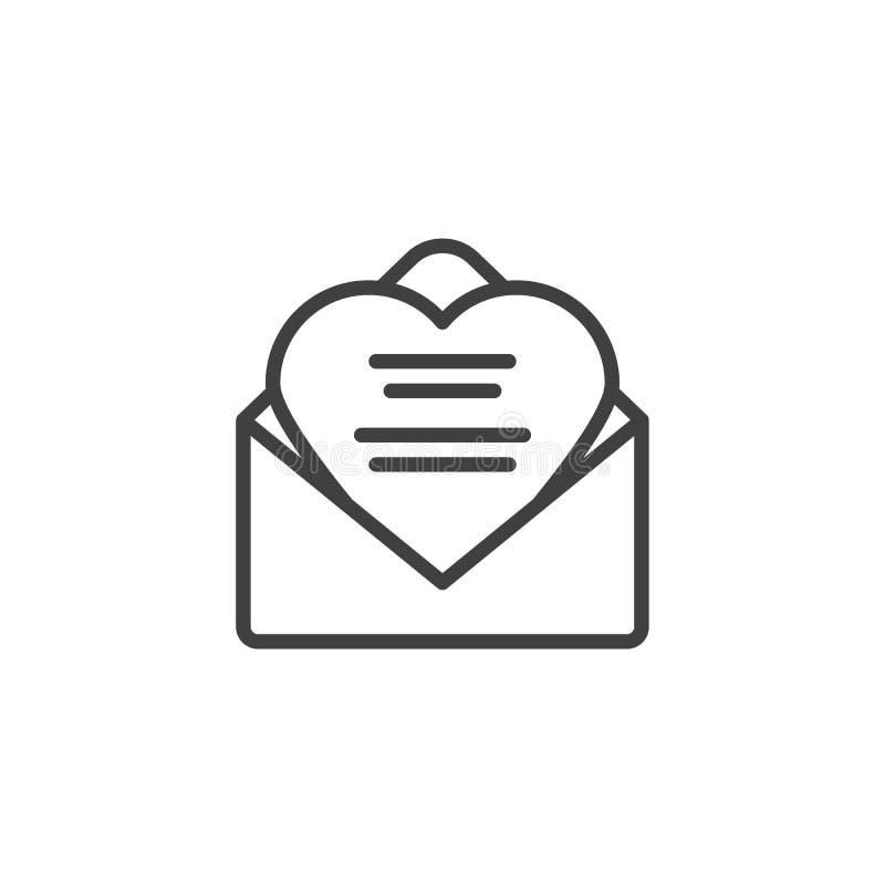 Ontvangen de lijnpictogram van de liefdebrief vector illustratie