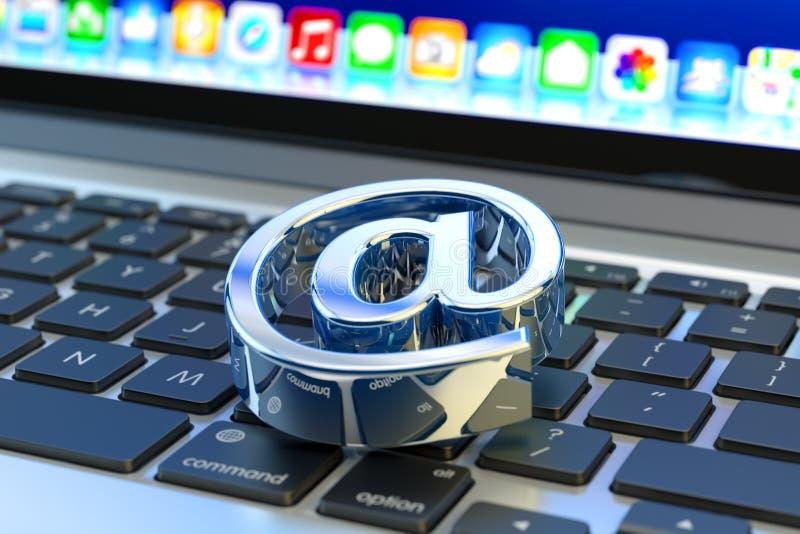 Ontvangen e-mail, Webpost en Internet-communicatie berichtconcept stock illustratie