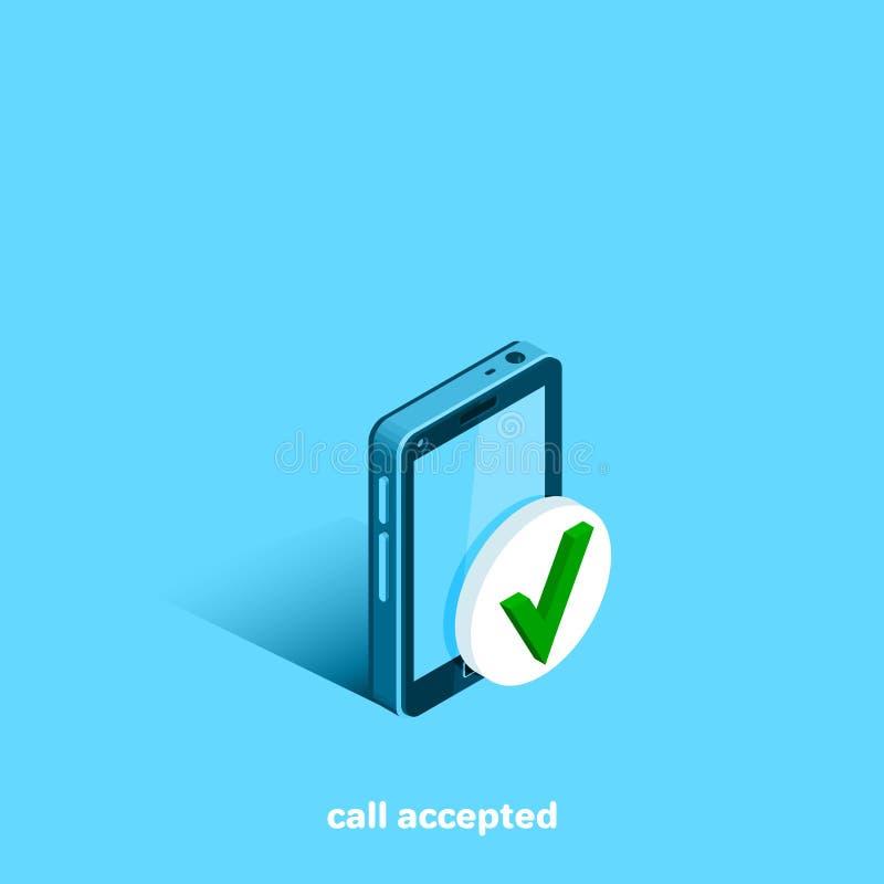 Ontvangen telefoongesprek, smartphone op een blauwe achtergrond royalty-vrije illustratie