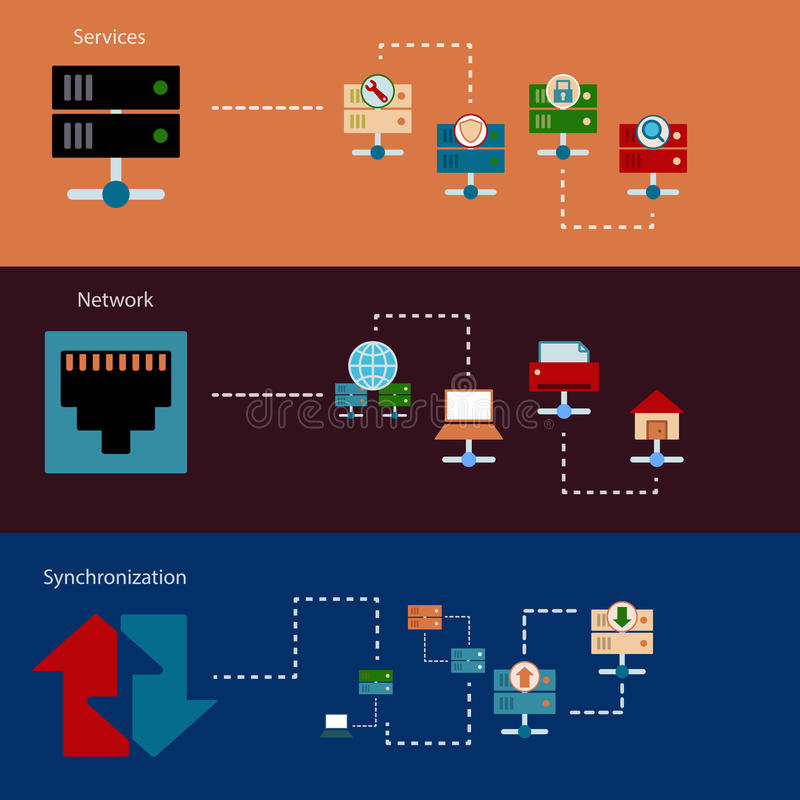Ontvangende serverbanners stock illustratie