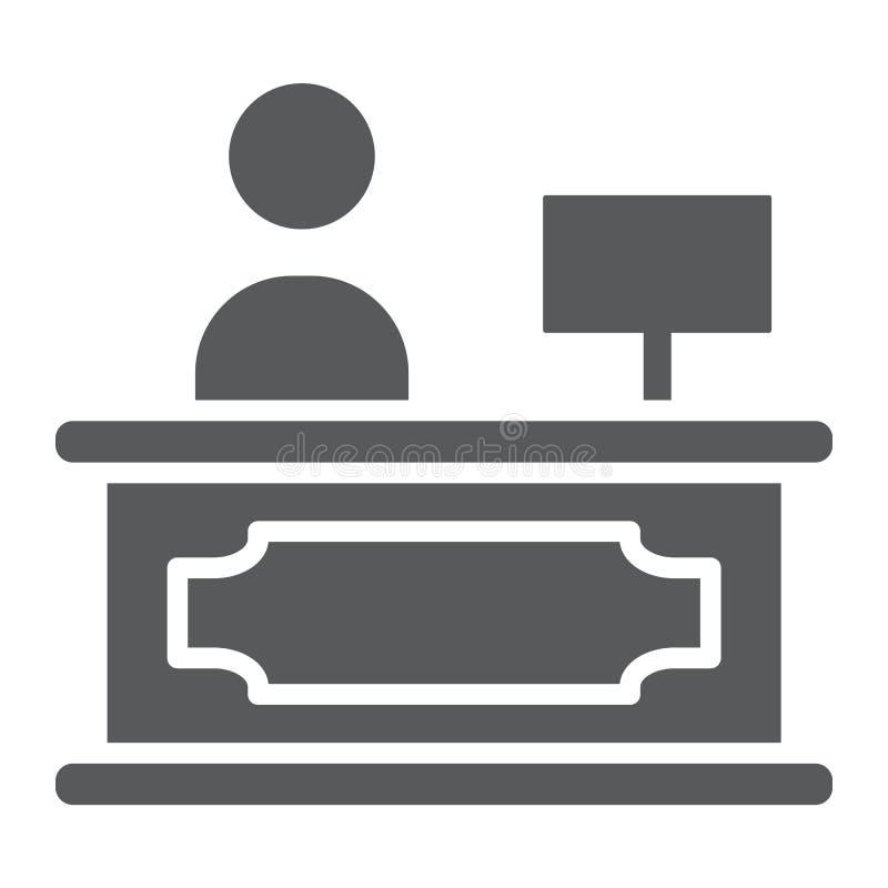 Ontvangst glyph pictogram, hotel en vraag, het teken van het ontvangstbureau, vectorafbeeldingen, een stevig patroon op een witte stock illustratie