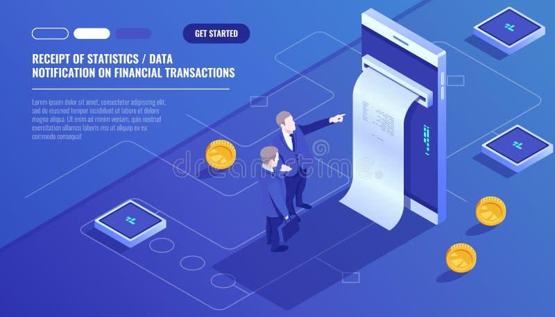 Ontvangstbewijs van statistieken gegevens, bericht van financiële transactie, mobiele bank, smartphone met document rekening, twe vector illustratie