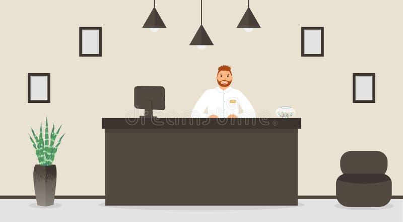 Ontvangstbureau in hotel, receptionnist achter zijn werkplaats Wachtkamer, zaal in bedrijfsbureau, modern binnenland met meubilai stock illustratie