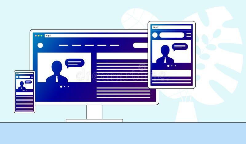 Ontvankelijk aanpassingswebontwerp Website open op verschillende apparaten De monitor van computerpc, tablet, mobiele smartphone  vector illustratie