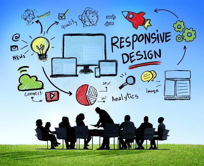 Ontvankelijk het Web Online Commercieel van Ontwerpinternet Vergaderingsconcept stock foto